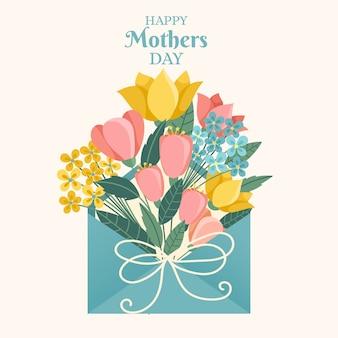 Flores coloridas em envelope com letras do dia das mães