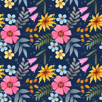Flores coloridas em padrão sem emenda de fundo azul escuro para papel de parede de tecido têxtil.