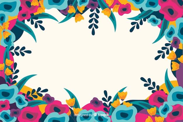 Flores coloridas fundo pintado estilo