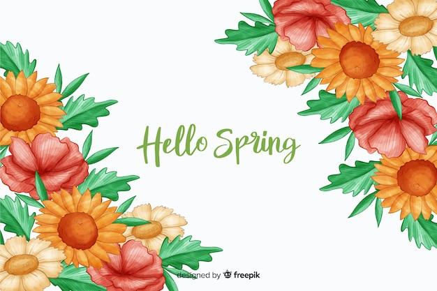 Flores coloridas quentes com citação de primavera olá