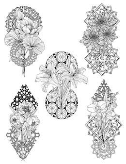Flores com desenho de mão desenhada em preto e branco