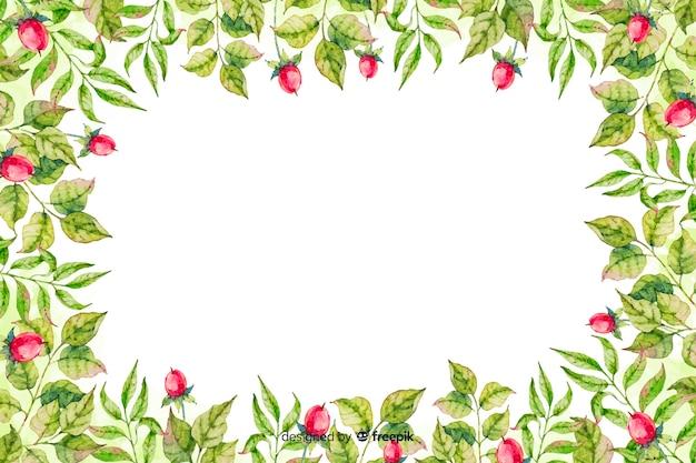 Flores, com, folhas, aquarela, floral, fundo
