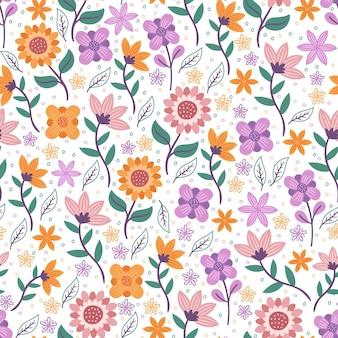Flores com folhas floral padrão sem emenda
