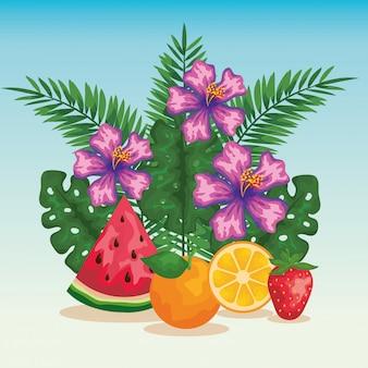 Flores com frutas exóticas e folhas tropicais