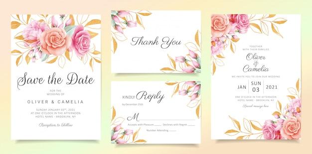 Flores com glitter deixa conjunto de modelo de cartão de convite de casamento