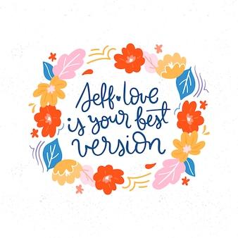 Flores com letras de amor próprio