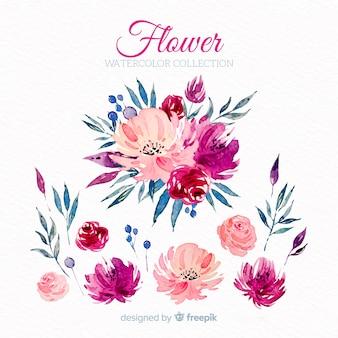 Flores cor de rosa aquarela
