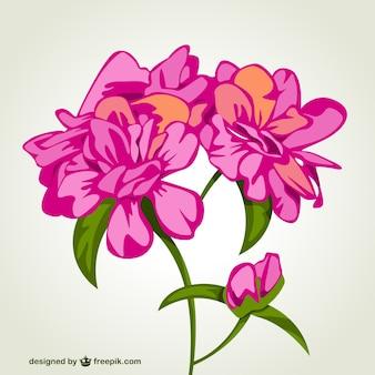 Flores cor de rosa bouquet cartão vetor