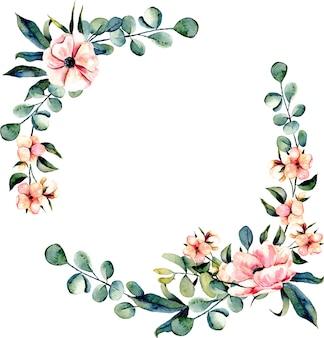 Flores cor-de-rosa com coroa de flores e ramos de eucalipto