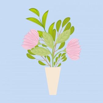 Flores cor de rosa com folhas dentro de vaso