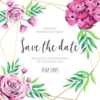 Flores cor de rosa, convite de casamento com moldura dourada