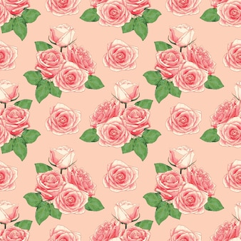Flores cor-de-rosa do teste padrão sem emenda no bacground cor-de-rosa do pastek.