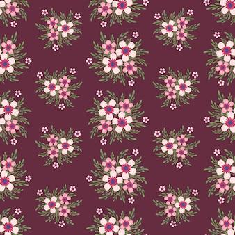 Flores cor de rosa hera estilo com galho e folhas, sem costura padrão
