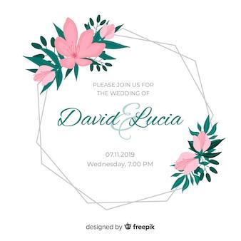 Flores cor de rosa para moldura de convite de casamento