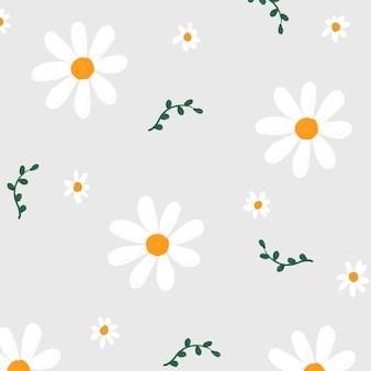 Flores da margarida com padrão de fundo de vetor bonito estilo desenhado à mão