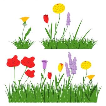 Flores da mola no grupo simples liso dos desenhos animados do vetor da grama isolado em um fundo branco.