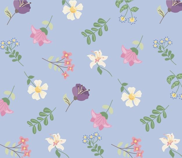 Flores da natureza sem costura padrão