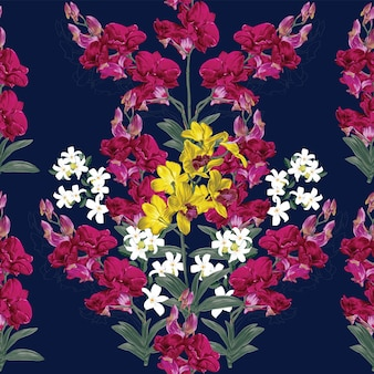 Flores da orquídea floral padrão sem emenda.