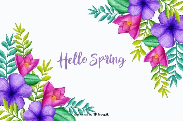Flores da primavera com citação de saudação