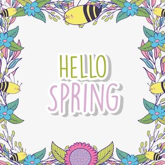 Flores da primavera com folhas de plantas e abelhas