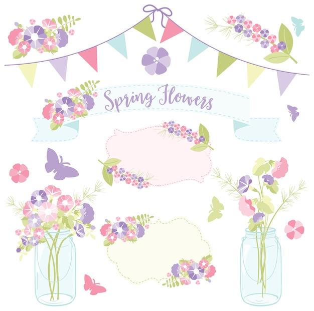 Flores da primavera em frascos de pedreiro para o dia das mães