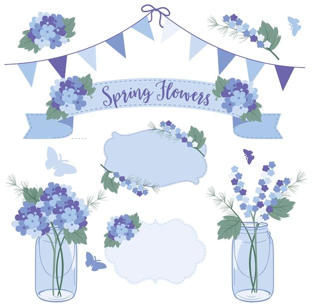 Flores da primavera em potes de pedreiro, fique bom logo