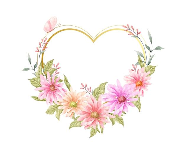 Flores da primavera pintadas à mão com um lindo formato de coração