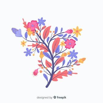 Flores da primavera rosa e violeta em design plano