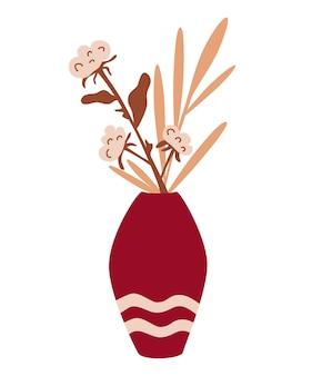 Flores de algodão em um vaso buquê de outono. flores secas e algodão. decoração de casa.