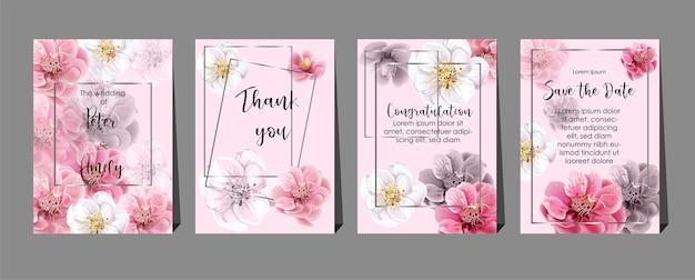 Flores de ameixa chinesas em cartões