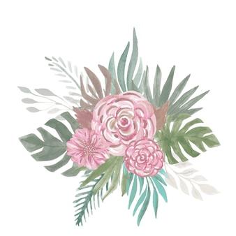Flores de arranjo botânico de casamento rosa, folhas, ramos folhas tropicais. estilo boho de bouquet floral pintado à mão.