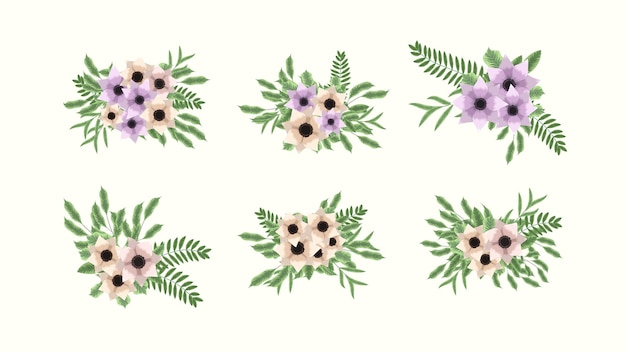 Flores de arranjos florais de coleção botânica para anúncios de mídia social