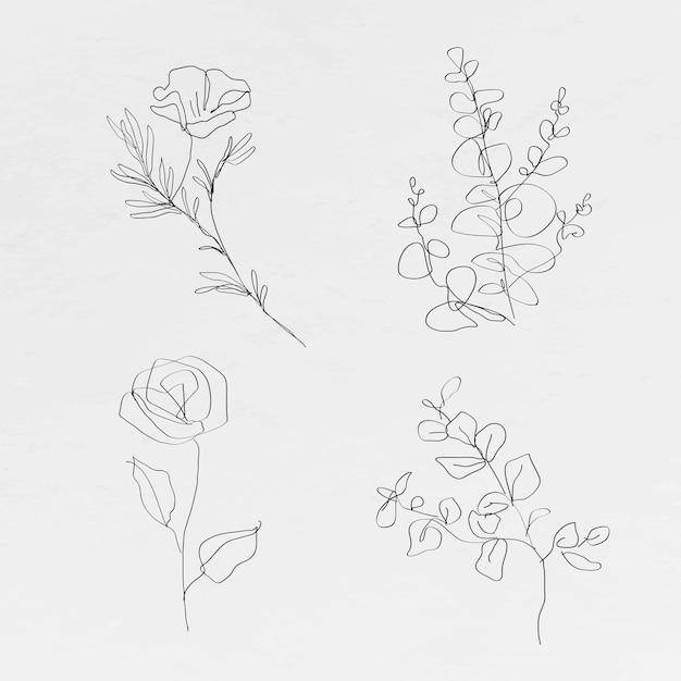 Flores de arte de linha botânica com coleção mínima de desenhos abstratos