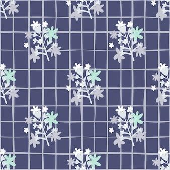 Flores de camomila abstratos buquê patten sem costura em tons de azuis