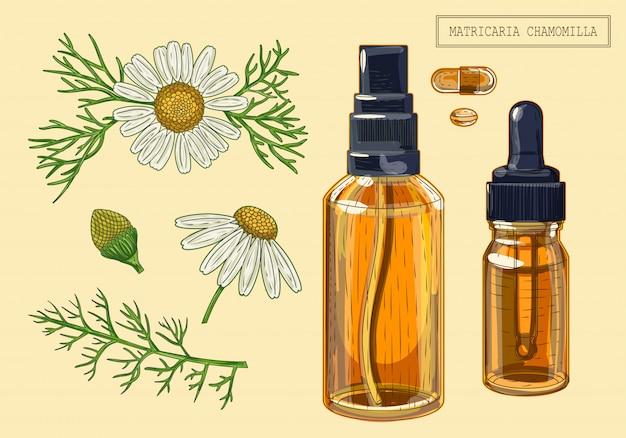 Flores de camomila e conta-gotas e pulverizador
