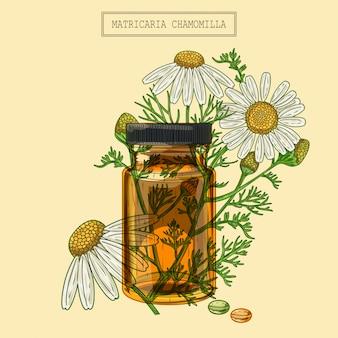 Flores de camomila médica e frasco e comprimidos