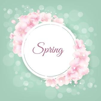 Flores de cerejeira com luz bokeh no banner de primavera