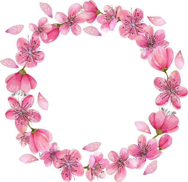 Flores de cerejeira de flores de cerejeira da primavera da aguarela Vetor Premium