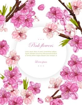 Flores de cerejeira e fundo de cartão de primavera