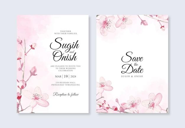 Flores de cerejeira em aquarela para um lindo modelo de convite de casamento