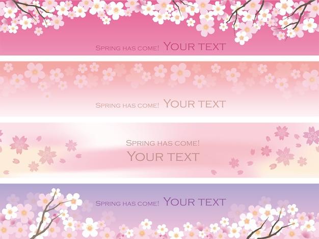 Flores de cerejeira sem costura definidas com espaço de texto repetível horizontalmente