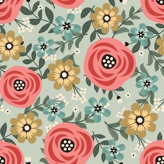 Flores de cor pastel grinalda estilo hera com galho e folhas, padrão sem emenda