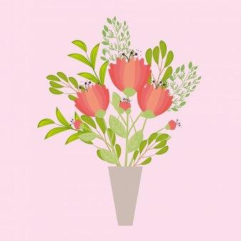 Flores de cor vermelha em um vaso, galhos com folhas, decoração da natureza