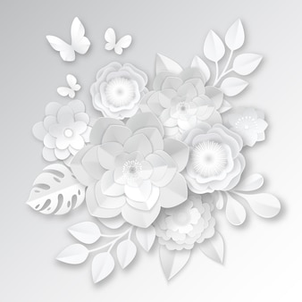 Flores de corte de papel branco elegante