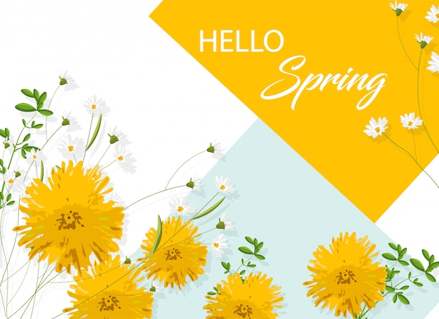 Flores de crisântemo amarelo com camomila branca. olá ideia de primavera