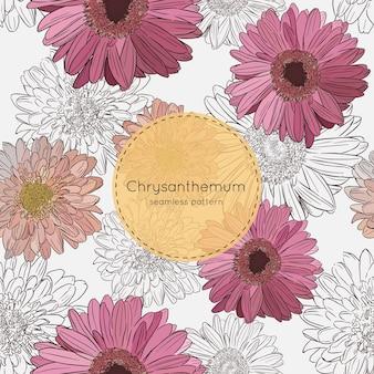 Flores de crisântemo, vetor padrão sem emenda.