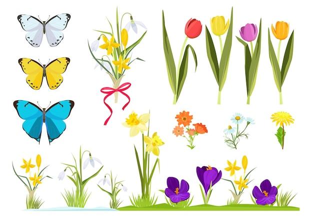 Flores de desenho animado. conjunto de jardinagem de plantas de primavera. conjunto de grama de camomila e tulipas.