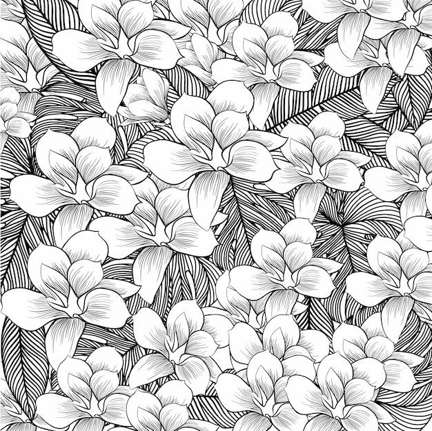 Flores de desenho com linha-arte em fundo branco