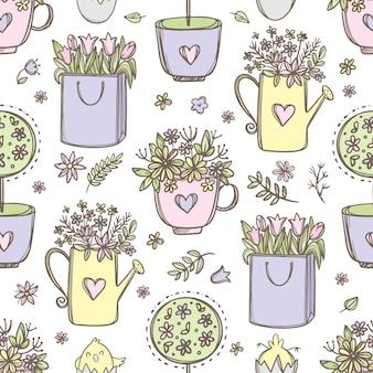 Flores de easter. buquês de flores em um copo regador e bolsa de papel padrão sem emenda desenhado à mão