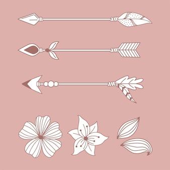 Flores de flechas nativas enfeitam boho e ilustração de estilo tribal